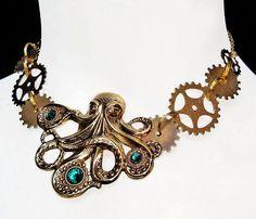 Octopus Necklace  Steampunk  Kraken  Gear Wheel  Clockwork