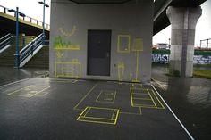 Berlin-based urban intervention collective Stiftung Freizeit has designed an illusionary 'Wohnzimmer' under a bridge in Berlin Одомашнивание опасного места Office Graphics, Cosy Apartment, Under Bridge, Urban Ideas, Urban Intervention, Street Furniture, Urban Landscape, Urban Art, Installation Art