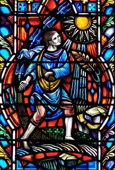 Nave stained glass windows - Calvary Episcopal Church  20 Milton Street, Williamsville, NY  Nave windows have a common theme: The Parables, made by the Willet Studios. The Sewer and the Seed.