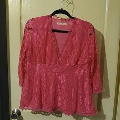 Pink too Lace cross over 3/4 sleeve top Tops Blouses