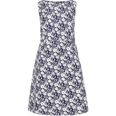 Lovedrobe Dark-Blue / White Plus Size Printed jacquard dress (90 CAD) ❤ liked on Polyvore featuring dresses, plus size, sleeveless summer dresses, white dress, pleated midi dress, plus size white dress and a line summer dresses