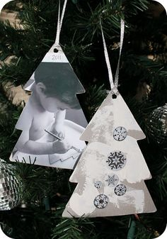 sentimental ornaments...kid paints/designs one side of ornament, and you print a photo of them doing it for the other side.