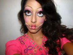 Fabulous Halloween makeup! I want to do my eyes like this and be a living doll or something.