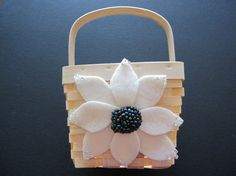 Flower Girl Basket Wedding Ivory Purple Blue 70 flower colors & 44 glass bead colors available by ArtisanFeltStudio, $26.00