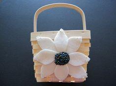 Flower Girl Basket Wedding Ivory Purple Blue 70 flower colors & 44 glass bead colors available by ArtisanFeltStudio, $26.00