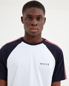 NICCE Mens Boundary T-shirt White New Mens NICCE summer 2019 collection Mens t-shirt Boundry style Crew neck Navy red and white Nicce logo on chest cotton Regular fitting Style Panel tee Machine wash White Shoulders, Joggers, Tank Man, Short Sleeves, Tees, Mens Tops, T Shirt, Style, Fashion