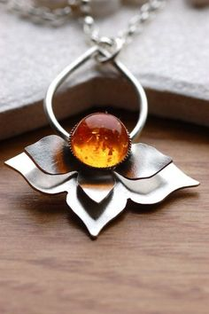 Lotus necklace - Handmade in Sterling silver with amber.