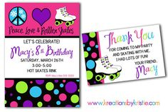 Peace Love ROLLER SKATING Printable Birthday Party Invitation & thank you note on Etsy, $14.00
