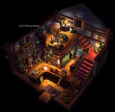 Npc home by ~phoenix-feng on deviantART Game Environment, Environment Concept Art, Environment Design, Fantasy Places, Fantasy Map, Habbo Hotel, Rpg Map, Isometric Art, Fantasy House