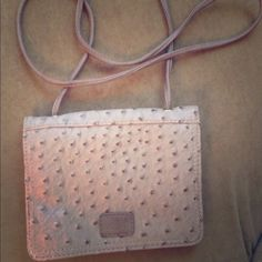 Co Lab Crossbody in faux ostrich Taupe cross body mini bag.  Faux ostrich texture. Co Lab Bags Crossbody Bags
