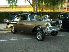 1956 chevy gasser with ET Gasser wheel in front and  5 window high angle in the rear #etmags