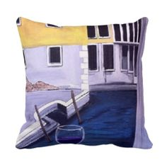 """Wine in Venice"" Pillow"