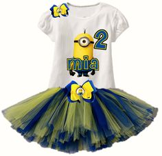 """Personalized Minion Tutu Set """"Add Name and Number"""" sold by Layla's Runway /Logan's Locker. Shop more products from Layla's Runway /Logan's Locker on Storenvy, the home of independent small businesses all over the world. Minion Party Theme, Despicable Me Party, Minion Birthday, Birthday Tutu, Birthday Ideas, Birthday Parties, White Tee Shirts, White Tees, Cute Outfits For Kids"""