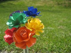 Rainbow Wild Roses, Half A Dozen. Red, Orange, Yellow, Green, Blue, Purple.  OTHER colors available as well. Wedding, Paper Flower Bouquet via Etsy