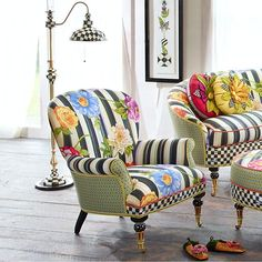Cutting Garden Accent Chair is part of Mackenzie childs furniture We know spring has sprung when our vibrantly colored gardens begin to blossom Our Cutting Garden Accent Chair is inspired by our lo - Whimsical Painted Furniture, Painted Chairs, Hand Painted Furniture, Funky Furniture, Furniture Makeover, Living Room Furniture, Farmhouse Floor Lamps, Farmhouse Flooring, Modern Farmhouse