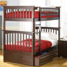 Columbia Twin over Twin Bunk Bed in Antique Walnut - Bed Size: Twin/Twin Beds can be separated into two beds Solid hardwood mortise and tenon construction 26 Steel Reinforcement Points Designed for durability Accepts under bed storage drawers or trundle bed 5 step high build finish Engineered for easy assembly Ideal space saving design www.bunkbeddeals.com