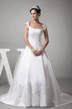 Graceful Beading Embroidery Detail Capped Sleeves Princess Ball Gown