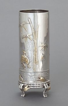 Tiffany OFF! Tiffany Co sterling silver and mixed metal vase in a japanesque design with bamboo motif (Heritage Auctions) Vintage Silver, Antique Silver, 925 Silver, Sterling Silver, Art Nouveau, Metal Vase, Silver Rings Handmade, Mixed Metals, Vases Decor