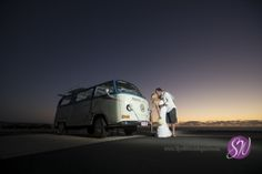 #weddingcar, kiss VW Kombi at a wedding. #sunset