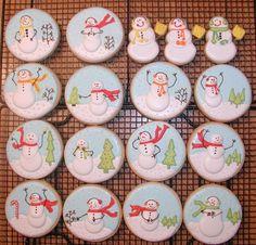 Snow globe snowmen cookies.