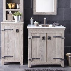Furniture Creative Distressed Wood Bathroom Vanities Using Rustic White Oak Cabinets With Antique Iron Strap Hinges And Hammered Copper Undermount Sink Beside Linen Tower 600x600 For Your Cabinet