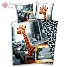 Giraffe in New York Duvet Cover & Pillowcase Set - Reversible Design. This wonderful design features a giraffe catching a famous yellow NY cab! Anne Stokes Dragon, New York, Home Bedroom, Kids Bedroom, Linen Bedding, Bedding Sets, Safari, Animal Bedroom, Farm Yard