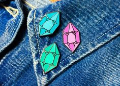 """Gem Pin $15 US 1-1/8"""" hard enamel pin -Silver colored metal -2mm thick -Rubber pin backing -Comes in Blue, Pink, and Teal color options"""