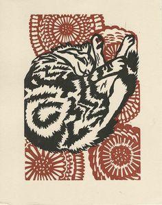 Sleeping kitty linoleum block print van wasabipress op Etsy