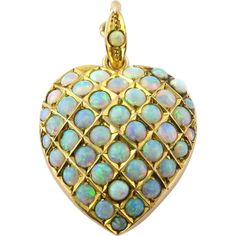 Antique Victorian 10K Yellow Gold and Pave Opal Heart Pendant / Locket - 42 genuine Opals ~ 4.8 grams ~ 32x22mm ~ $995.00 obo