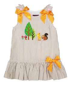 Loving this Light Brown Seersucker Woodland Dress - Infant, Toddler & Girls… Baby Girl Dress Patterns, Baby Girl Dresses, Baby Dress, Cute Little Girls Outfits, Kids Outfits, Frocks And Gowns, Fashion Kids, Infant Toddler, Toddler Girls