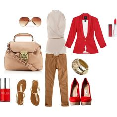Red and Khaki, created by kelhardt on Polyvore