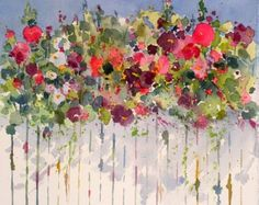 Hollyhocks Over the Fence, painting by artist Kay Smith