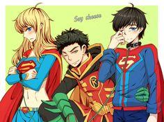 #supersons with #supergirl Superman Love, Superman Family, Robin Dc, Batman Robin, Barbara Gordon, Damian Wayne, Tim Drake, Nightwing, Jason Todd