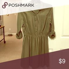Cute new army green dress Elastic waist with button up top. Charlotte Russe Dresses Midi