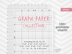 GRAPH PAPER for cross stitch COLLECTION printable xstitch needlepoint diy design grid 14 count 16 count 18 count A4 instant download by PineconeMcGee