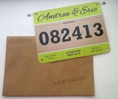 """Race Bib Save the Dates - Since Zach does the running,  it would be neat to add a little bit of him in the wedding. Maybe have these as """"information"""" packets for the bridal party since we are not doing save the dates."""