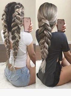 two pancaked braids – - Frisuren Box Braids Hairstyles, Pretty Hairstyles, Elegant Hairstyles, Teenage Hairstyles, Hairstyles Pictures, Hairstyles Haircuts, Curly Hair Styles, Natural Hair Styles, Pinterest Hair