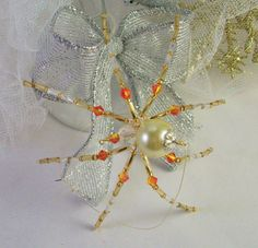 Yellow and Orange Spider Christmas Ornament by Thespiderlady, $8.00