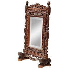 19th Century French Carved Black Forest Free Standing Beveled Glass... ($1,300) ❤ liked on Polyvore featuring home, home decor, mirrors, full-length & floor mirrors, black glass mirror, glass mirror, black vanity mirror, black beveled mirror and black mirrors