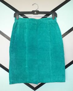 High-Waisted Teal Suede Skirt $38 Etsy DCXSpringfield