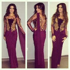 New Prom Dresses 2015 Lace Long Sleeves Sheer Neck Sheath Chiffon Floor Length Party Gowns Arabic Sexy Vintage Evening Dresses Moda Indiana, Bollywood, Lehenga Saree Design, Saree Gown, Chiffon, Stylish Sarees, Black Prom Dresses, Mermaid Evening Dresses, Indian Couture