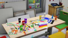 Kids Painting Set: Table Splatter + Paintings/Extracted and recolored paint brush/Paint Tubes.DL Paintings and SplatterDL BrushDL Paint TubeDL All-in-oneFlat Mesh, martinessimblr's edited Ladesire mesh/Tube mesh by One Billion Pixels/Simlish font by ajaysims/Made with Sims 4 Studio