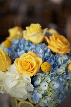Yellow roses and blue hydrangeas