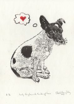JRT Love Linocut Lino Block Print of a Jack Russell by minouette