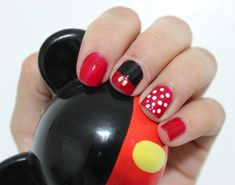 Disney Inspired nail art I love Mickey and Minnie