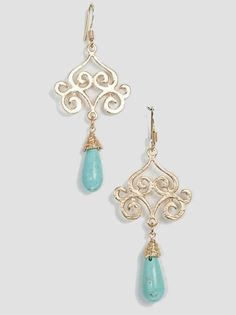 Turquoise and Gold Semi-Precious Stone Earrings - $14.00 : FashionCupcake, Designer Clothing, Accessories, and Gifts