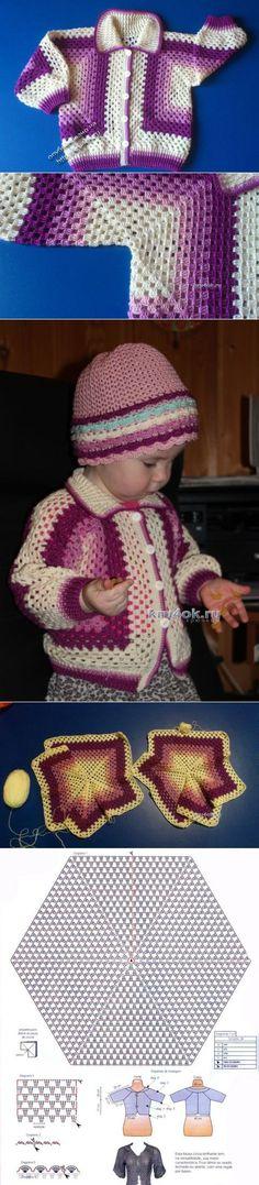 Детская кофточка крючком — работа Елены Аферовой - вязание крючком на kru4ok.ru