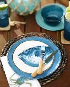 Bright blues for summer outdoor dining.