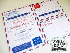 PRINTABLE Retro Airmail Fun Wedding Invitation by VanillaRetro, £35.00