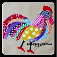 Animals :: Wild Animals :: Calico Wild Rooster Applique Design